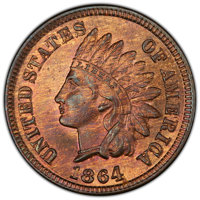 1864 1C L on Ribbon, Snow-5, FS-2304, MS65 Red and Brown PCGS. PCGS Population: (2/0 and 0/0+). NGC Census: (0/1 and 0/0...