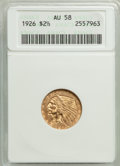 Indian Quarter Eagles: , 1926 $2 1/2 AU58 ANACS. Mintage 446,000. ...