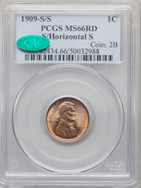 1909-S/S 1C S Over Horizontal S, FS-1502, MS66 Red PCGS. CAC....(PCGS# 37645)