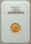 Russia: Nicholas II gold 5 Roubles 1903-AP MS65 NGC