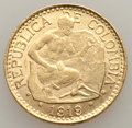 Colombia, Colombia: Republic gold 5 Pesos 1919 AU, ...