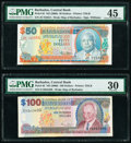 World Currency, Barbados Central Bank 50; 100 Dollars ND (2000) Pick 64; 65 Two Examples PMG Choice Extremely Fine 45; Very Fine 30.. ... (Total: 2 items)