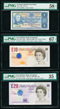 Great Britain Bank of England 10; 20 Pounds 2000 (ND 2004); 1999 ND(1999-2003) Pick 389c; 390a Two Examples PMG Su