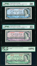 Canada Bank of Canada $5; 10; 1 1954 (2); 1967 BC-39a-i; BC-40b; BC-45a Three Examples PMG About Uncirculated 50;