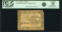 Continental Currency April 11, 1778 $4 PCGS Apparent Very Fine 30