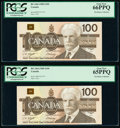 Canada Bank of Canada $100 1988 BC-60d Two Consecutive Examples PCGS Gem New 66 PPQ; Gem New 65 PPQ