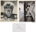 Movie/TV Memorabilia:Autographs and Signed Items, Lon Chaney Jr. / Vincent Price / Christopher Lee Signed Items (3)....