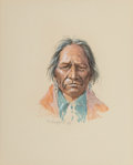 Works on Paper, Olaf Wieghorst (American, 1899-1988). Portrait of an American Indian Man in Turquoise. Watercolor and ink on paper. 9-3/...