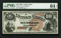 Large Size:Legal Tender Notes, Fr. 101 $10 1880 Legal Tender PMG Choice Uncirculated 64 EPQ.. ...