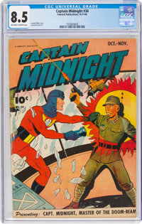 Captain Midnight #34 (Fawcett Publications, 1945) CGC VF+ 8.5 Off-white to white pages