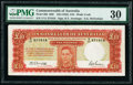 World Currency, Australia Commonwealth of Australia 10 Pounds ND (1942) Pick 28b R59 PMG Very Fine 30.. ...