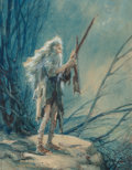 Works on Paper, Everett Shinn (American, 1876-1953). Rip Van Winkle, 1938. Watercolor and pencil on paper laid on board. 10-3/4 x 8-1/2 ...