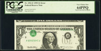 Inverted Third Printing Error Fr. 1921-F $1 1995 Federal Reserve Note. PCGS Very Choice New 64PPQ