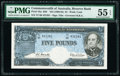 World Currency, Australia Commonwealth of Australia Reserve Bank 5 Pounds ND (1960-65) Pick 35a R50 PMG About Uncirculated 55 EPQ.. ...