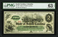 Obsoletes By State:South Carolina, Columbia, SC- State of South Carolina $2 Mar. 2, 1872 Cr. 4 PMG Choice Uncirculated 63 EPQ.. ...
