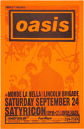 """Music Memorabilia:Posters, Oasis 11"""" x 17"""" First US Tour Satyricon Concert Poster (1994). ..."""