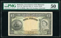 World Currency, Bahamas Bahamas Government 1 Pound 1936 (ND 1954) Pick 15b PMG About Uncirculated 50.. ...