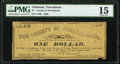 Tuscaloosa, AL- City of Tuscaloosa $1 Rosene June 20, 1862 324-4 PMG Choice Fine 15
