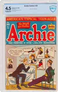 Archie Comics #20 (Archie, 1946) CBCS VG+ 4.5 Off-white to white pages