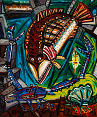 David Bates (American, b. 1952) Crab Legs, 1984 Oil on canvas 72 x 60 inches (182.9 x 152.4 cm) Signed and dated in