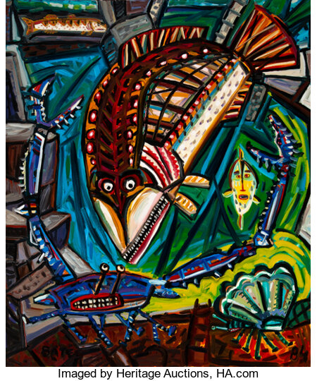 David Bates (American, b. 1952) Crab Legs, 1984 Oil on canvas 72 x 60 inches (182.9 x 152.4 cm) Signed and dated in ...