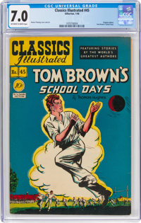 Classics Illustrated #45 Tom Brown's School Days - First Edition (Gilberton, 1948) CGC FN/VF 7.0 Off-white to white page...