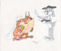 Animation Art:Production Drawing, Virgil Ross - Bugs Bunny and Tasmanian Devils Drawing (Warner Brothers, c. 1990s)....