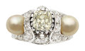 Estate Jewelry:Rings, Art Deco Diamond, Natural Pearl, Platinum Ring, Mauboussin, French . ...