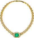 Estate Jewelry:Necklaces, Colombian Emerald, Diamond, Gold Necklace. ...