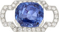 Estate Jewelry:Brooches - Pins, Ceylon Sapphire, Diamond, Platinum Brooch . ...