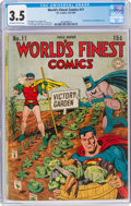 Golden Age (1938-1955):Superhero, World's Finest Comics #11 (DC, 1943) CGC VG- 3.5 Off-white to white pages....