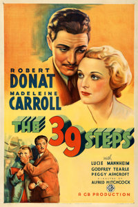 "The 39 Steps (Gaumont, 1935). Very Fine on Linen. One Sheet (27"" X 41"")"