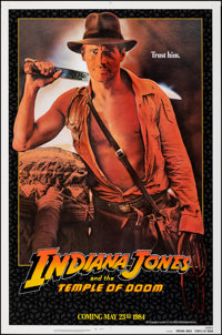 "Indiana Jones and the Temple of Doom (Paramount, 1984). Rolled, Very Fine. One Sheet (27"" X 40"") SS Advance, &..."