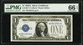 Small Size:Silver Certificates, Fr. 1601* $1 1928A Silver Certificate. PMG Gem Uncirculated 66 EPQ.. ...