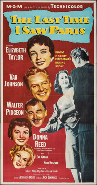 "The Last Time I Saw Paris (MGM, 1954). Folded, Very Fine. Three Sheet (41"" X 81""). Romance"