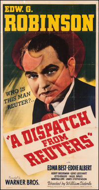 "A Dispatch from Reuters (Warner Bros., 1940). Fine on Linen. Three Sheet (41"" X 79""). Drama"