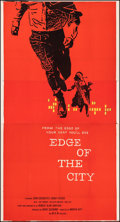 "Movie Posters:Drama, Edge of the City (MGM, 1957). Very Fine- on Linen. Three Sheet (41.25"" X 77.5""). Saul Bass Artwork. Drama.. ..."
