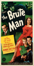 """Movie Posters:Horror, The Brute Man (PRC, 1946). Very Fine- on Linen. Three Sheet (41.5"""" X 80"""").. ..."""