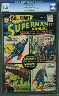 80 Page Giant 1 Superman (DC, 1964) CGC FN- 5.5 Cream to off-white pages
