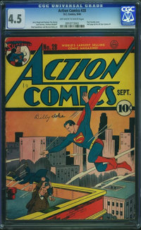 Action Comics #28 (DC, 1940) CGC VG+ 4.5 Off-white to white pages