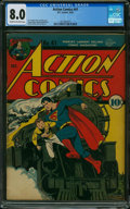 Golden Age (1938-1955):Superhero, Action Comics #41 (DC, 1941) CGC VF 8.0 Cream to off-white pages.