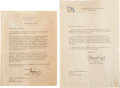 "Autographs:U.S. Presidents, John F. Kennedy Typed Letter of Condolence Signed ""Joh..."