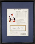 Autographs:Sports Cards, Mickey Mantle Signed Statistics Card. ...