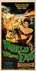 "Movie Posters:Science Fiction, World Without End (Allied Artists, 1956). Folded, Fine+. Three Sheet (41"" X 79"").. ..."