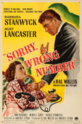 """Movie Posters:Film Noir, Sorry, Wrong Number (Paramount, 1948). Fine/Very Fine on Linen. One Sheet (27"""" X 41"""").. ..."""