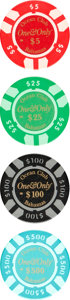 """Movie Posters:James Bond, Casino Royale (MGM, 2006). Near Mint-. Screen-Used One & Only Ocean Club Poker Chips (4) (Diameter: 1.5"""") $5, $25, $100, & $... (Total: 4 Items)"""