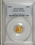 Commemorative Gold: , 1922 G$1 Grant no Star MS67 PCGS. PCGS Population (115/0). NGCCensus: (59/1). Mintage: 5,000. Numismedia Wsl. Price: $8,72...