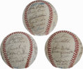Autographs:Baseballs, 1982-84 Minnesota Twins Team Signed Baseball Lot of 3. EachMinnesota Twins squad from 1982-84 is represented with the fine...