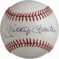 Autographs:Baseballs, Mickey Mantle Single Signed Baseball. Simply stunning Mantlesignature makes its home on the sweet spot of the provided OAL...