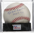 "Autographs:Baseballs, Warren Spahn ""HOF 73"" Single Signed Baseball, PSA NM-MT 8. Sweetspot sig we see here has been applied by long-time Braves ..."